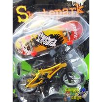 Bicicleta De Dedo E Skate De Dedo Miniatura Com Acessórios