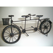 Miniatura Bicicleta Dupla Metal Artesanal Vintage 36 Cms.