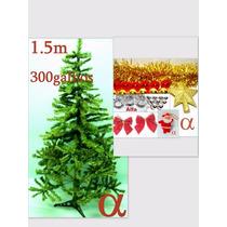 Árvore De Natal Verde Canadense 1,5m 300g+100enfeites.alfa.