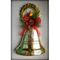 Enfeite De Natal Sino Dourado Decorado Laço Bola Glitter...