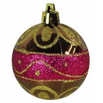 Enfeite Natalino 6 Bolas Douradas Com Rosa Com Detalhes 6cm