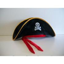 Chapéu Pirata Luxo Com Fita Vermelha Com Esqueleto Aveludado