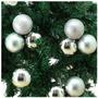 12 Bolas Decorativas Alças P/ Pendurar, Prata 6cm