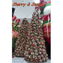 Decoração Natalina Com Pinhas Mini Árvore De Natal 30 Cm