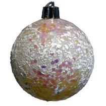 Bola De Natal Com Brilho Rosa/pink 10cm Flocos Bco