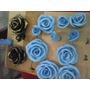 Rosa Em Biscuit Azul Claro E Rosa Claro