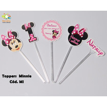 Mini Totens Toppers Personalizados - Minnie E Mickey- 50 Uni