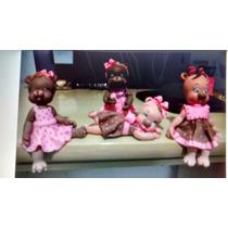 Topo De Bolo Infantil Ursinhos Marron Com Rosa
