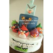 Angry Birds - Bolo Cenográfico Em Biscuit Encomenda