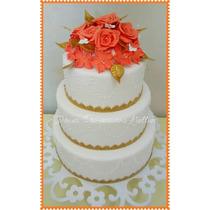 Bolo Falso Fake Casamento - 15 Anos Em Biscuit