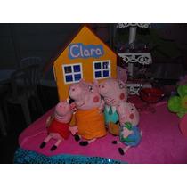 Casa Peppa Pig Madeira Pintada Mdf Usada 40cm