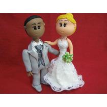 Casal Noivinhos De Biscuit Casamento Topo De Bolo