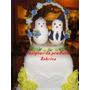 Noivinhos Pombinhos Topo De Bolo Casamento Biscuit Decorado