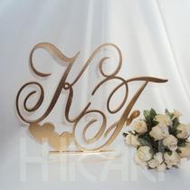 Topo Bolo Acrílico Casamento Monograma Iniciais Dourado