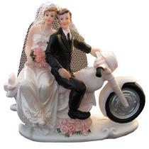 Noivinhos Na Moto Para Topo De Bolo - Noivos Na Motinho