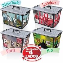 Caixa Plástica Organizadora Container 30 L - Kit 4 Unidades
