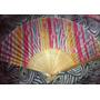 Leque De Bambu Em Tecido Estampado Colorido 21cm