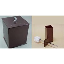 Lixeira Em Acrílico + Escova Sanitária Com Strass Chocolate
