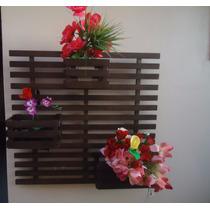Floreira Parede Madeira 3 Cachepôs