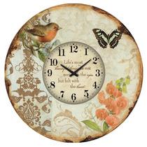 Relógio De Parede C/ Flores,passaro E Borboleta, Lindo !