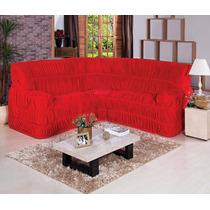 Capa De Sofá De Canto Elasticada Até 06 Lugares - Vermelha