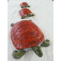 Enfeites Em Cerâmica Para Jardins E Interiores-3 Tartarugas.