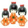 Trio Boneca Kokeshi Madeira Japonesa Gueixa Oriental Hachi8