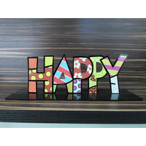 Pedestal Romero Brito Happy, Palavra, Words