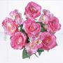 Bq C/9 Rosas Diversas Cores 46cm (03540) Flores Artificiais