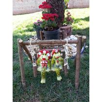 Enfeites Em Cerâmica Para Jardins, Balanço Cipó-casal Sapo.