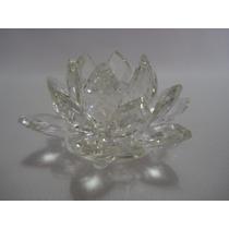 Flor De Lótus De Cristal Transparente 9cm