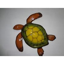 Tartaruga Em Fibra De Vidro Com Pintura Automotiva Decoração