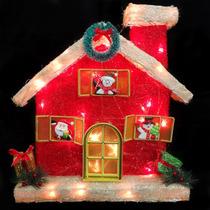 Casa Papai Noel Sisal Iluminada Natalina Natal Decoracao Luz