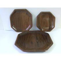 Jogo De Pratos De Madeira Ipê -3 Peças Octogonal-artesanato