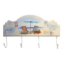 Cabideiro Cadeira De Praia Em Madeira E Metal Com 4 Ganchos