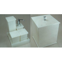 Kit Potes P/ Banheiro Em Acrílico Pérola C/ Strass + Lixeira