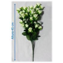 Flores Artificiais Importadas Bq Rosa Branca 45 Cm - 1 Unid