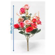 Flores Artificiais Importadas Bq Rosa Mini 30 Cm - 1 Unid