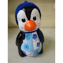 #8083# Pinguim Geladeira Cerâmica Gorro Azul!!!