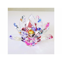 Flor De Lotos Em Cristal- Varias Cores 12 Cm Brilhante Linda