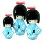 Boneca Kokeshi Japonesa Trio Azul