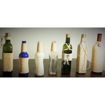 Garrafas De Vinho, Azeite Ou Cerveja Decoradas Com Cordas