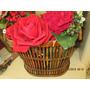 Belo Vaso Com Rosas E Outras Plantas (novo Sem Uso)