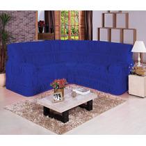 Capa De Sofá De Canto Elasticada Até 06 Lugares - Azul