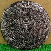 Calendário Pedra Do Sol Maya Asteca Fibra 43cm Prateado