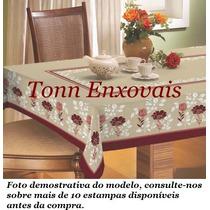 Toalha De Mesa Estampada Em Linhão 2,00x1,40 Mesa 6 Cadeiras