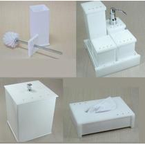 Kit Potes P/ Banheiro Acrílico Branco C/strass_personalizado