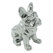 Objeto Decorativo Bulldog Cromado Em Cerâmica