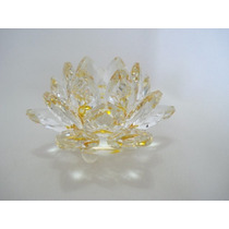 Flor De Lótus De Cristal Transparente Amarela 9cm