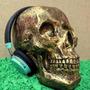 Cranio Caveira Esqueleto Dourado - Resina - Tamanho Real